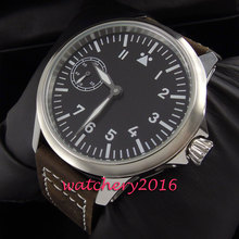 Newest Fashion Casual 45mm Parnis stainless steel case black dial 17 jewels 6497 Movement hand winding