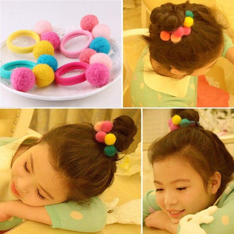 2018 New Cute 3 Balls Elastics Hair Holders Bands Gum Fashion Kids Candy Rubber Bands   Headwear   Girl's Hair Accessories Hot Sales
