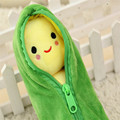 Super Kawaii Beans Plush 24cm Green Pea Doll Stuffed Plant Toys Kids Creative Gift High Quality