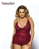 R70334P New Arrival High Quality Open Crotch Hot Plus Size Lingerie 5XL Dark Wine Red Erotic