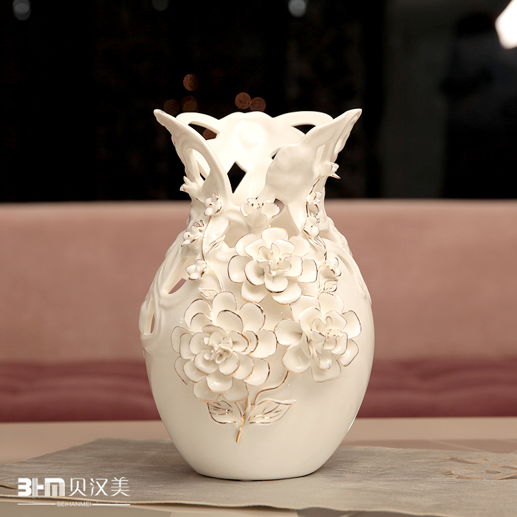 Hollow vase art craft home decor flower vase white rose for Decoration maison rose gold