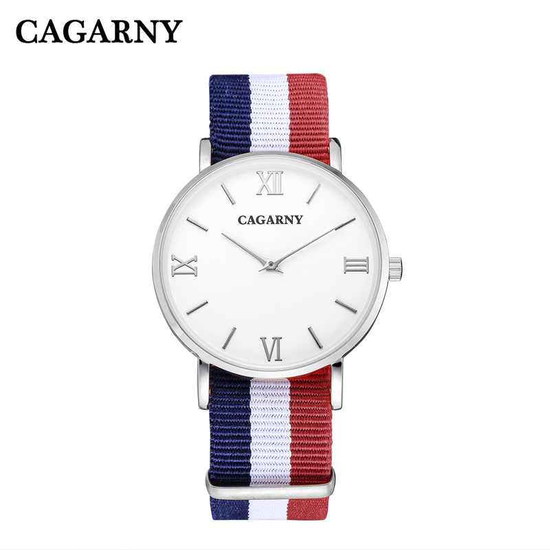 Cagarny Men Casual Quartz Watch Fashion Mens Watches Nylon Watchband Ultra-thin Case Wristwatches Relojes Hombre Wholesale 10pcs cagarny fashion watch women rose gold men s quartz watches men casual wristwatches for lovers unisex nylon strap reloje mujer