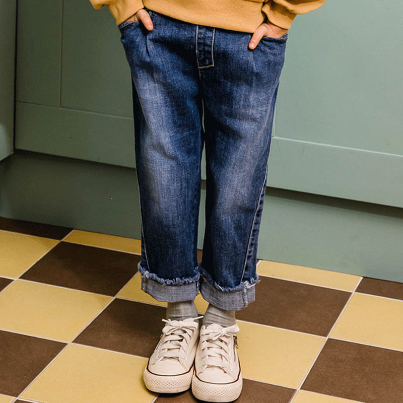 Jeans Motiviert Neue Herbst Jeans Schatten Panel Gebleichte Vintage Stil Mid Taille Volle Länge Lose Gerade Jeans Für Kinder Für 4-14y NüTzlich FüR äTherisches Medulla