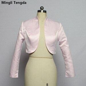 Image 2 - Mingli Tengda כתם ארוך שרוול חתונה בולרו כלה מעיל אדום/שחור מעיל כלה מעיל כורכת נשים שכמיות בולרו Casamento