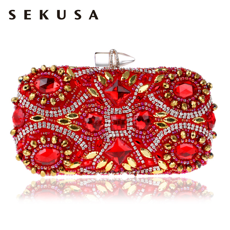 SEKUSA Embroidery Red Evening Bags Chain Shoulder Beading Clutch Lip Metal Rhinestones Lady Purse For Wedding Party Dinner