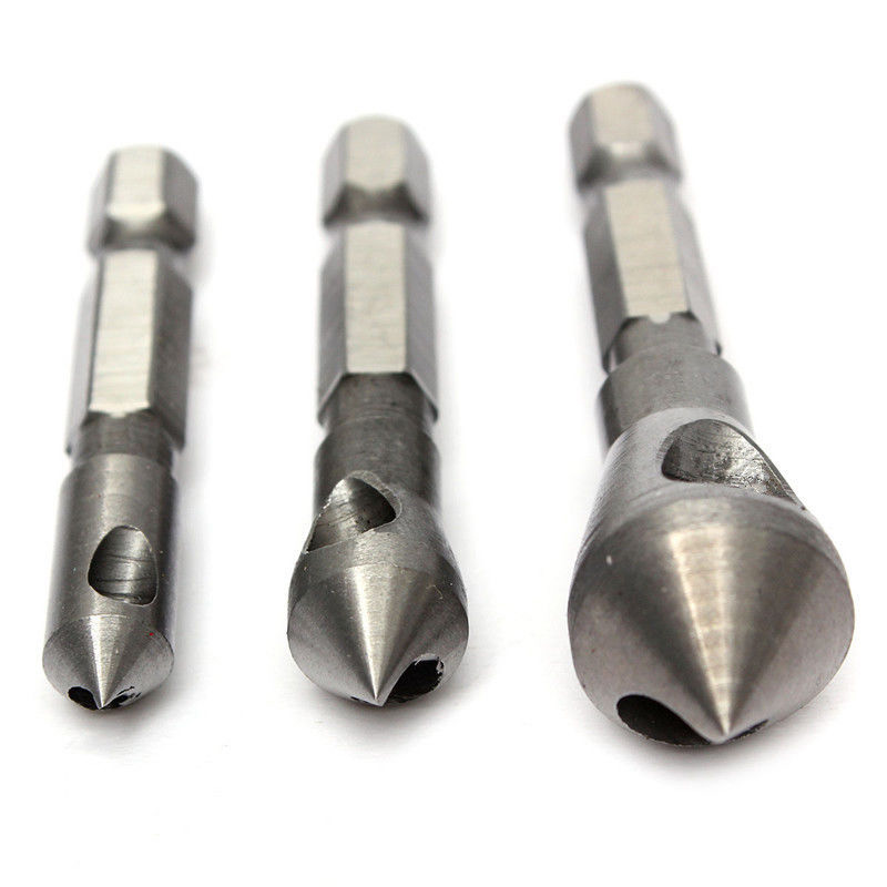 3pcs Countersink Deburring Drill Bit Set Steel Hole Cutter Hand Tools For Cutting Metal Wood Plastic jelbo 3pc step drill hole countersink cone cutting tools drill bit set for wood metal power tools set hole cutter power tools