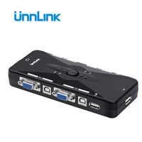 Unnlink-Selector de interruptor VGA KVM 2/4X1, 2/4 puertos, KVM, USB 2,0, compartir monitor de impresión, ratón, teclado para 4 ordenadores portátiles, Uds.