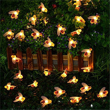 5M 20LED Cute Bee Shape Led Light String Solar Fairy Lights Outdoor Garden Fence Summer Decoration