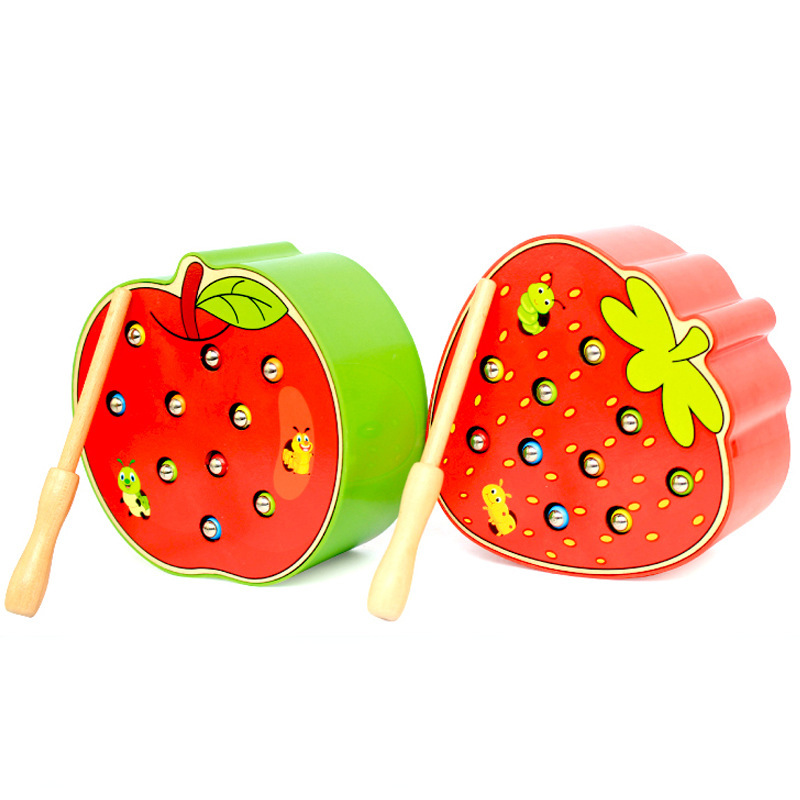 Baby Wooden Toys Catch Worm 3D Puzzle Educational Toys  Color Cognitive Magnetic Strawberry Apple Toy For Children Party Games