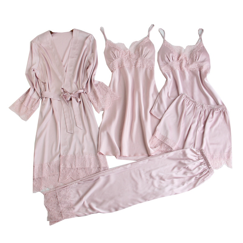 5 Piece Pajama Set Pink Home Clothing Bathrobe Mini Nighties Set Sexy V neck Women Sleepwear