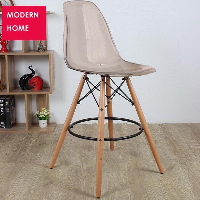 Diseño moderno transparente plástico madera cocina taburete alta ...