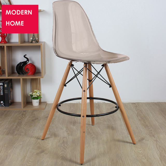 Modern Design Transpa Clear Plastic Wood Kitchen Room Counter Stool Bar High Chair Seat