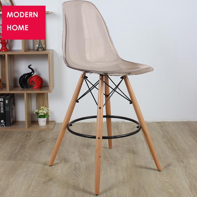 US $199.0 |Modernes Design Transparent klar Kunststoff Holz küche zimmer  barhocker Bar hocker Hoher Barhocker Sitzhöhe 65 cm oder 69 cm 1 STÜCK-in  ...