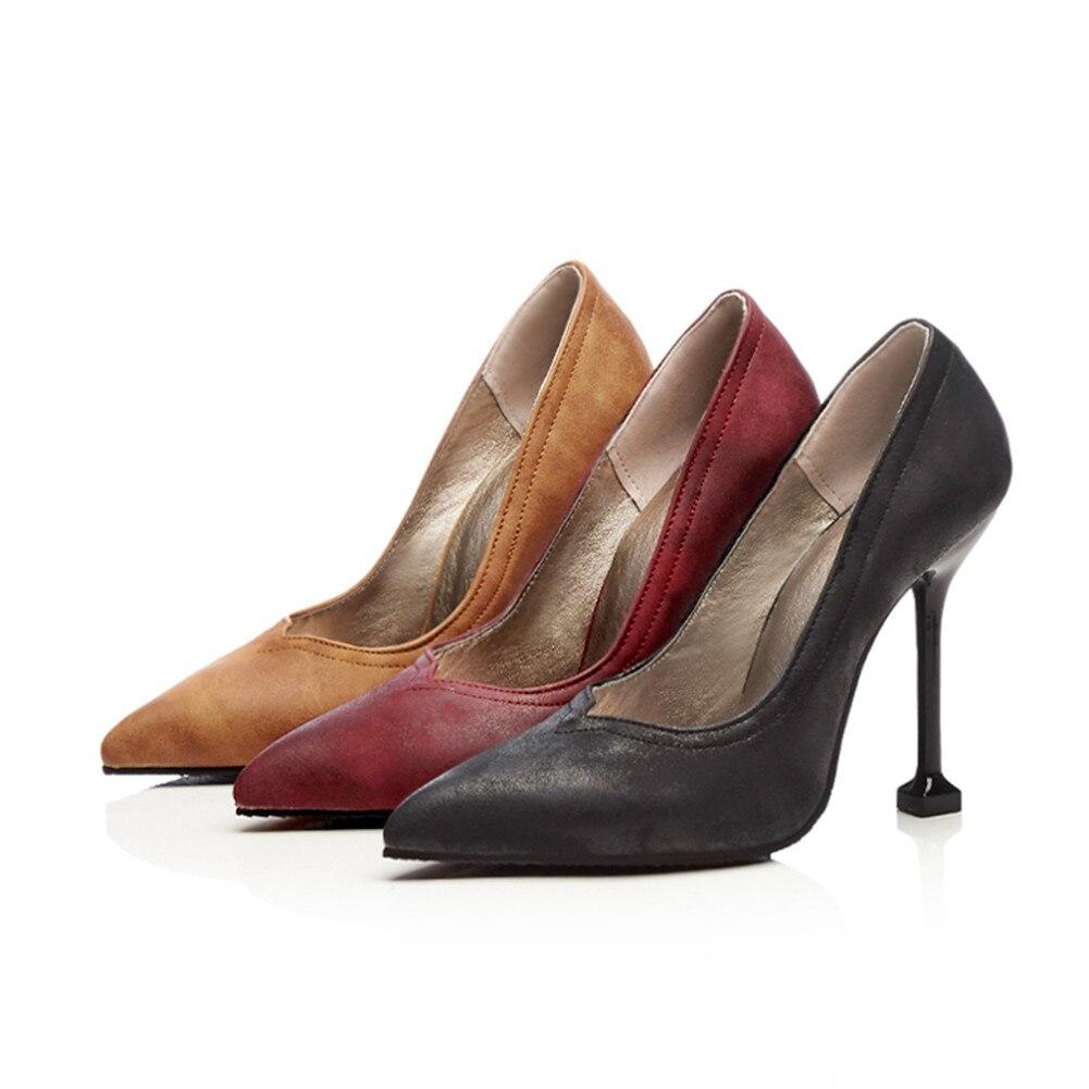 vin Profonde Partie 48 Peu Brown Sur Casual Bout Glissement Haute Karinluna Plus 34 Noir Nouveau Femme Chaussures Automne Printemps Rétro Talons Rouge Pompes Taille Pointu Mince light qwT4tPw
