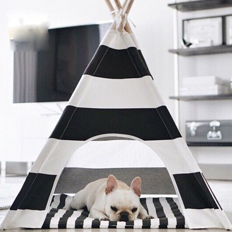 Hot selling black and white stripe Dog Bed Dog House Pet play House play teepee tent with mat selling together-in Toy Tents from Toys u0026 Hobbies on ... & Hot selling black and white stripe Dog Bed Dog House Pet play ...