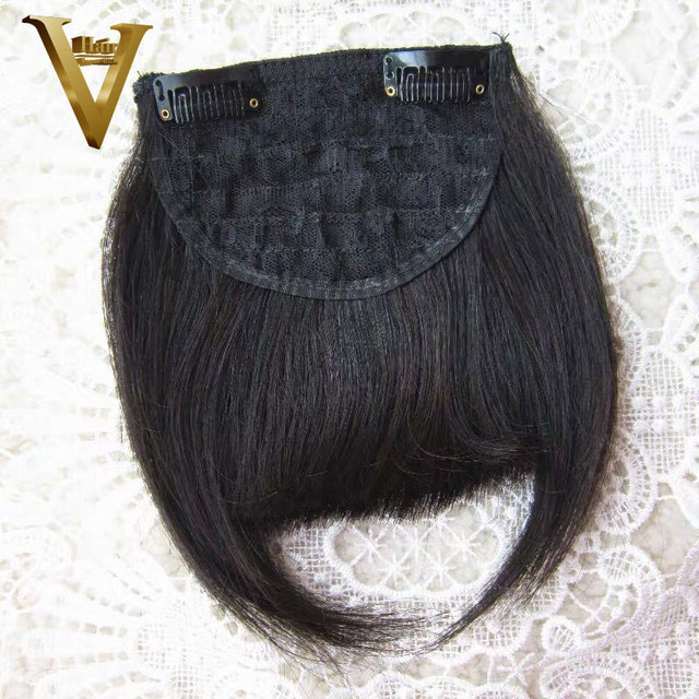 Brazilian Straight 100% Human Hair Bangs For Women Remy Clip In Fringe Hair Extension Natural Black Free Shipping 1