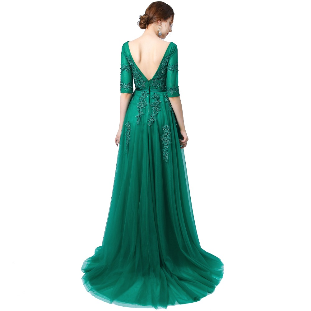 JaneVini 2018 A Line Long Bridesmaid Dresses Sexy Deep V Neck Half Sleeve  Lace Applique Backless Sweep Train Emerald Green Dress-in Bridesmaid Dresses  from ... dcd85f42532b