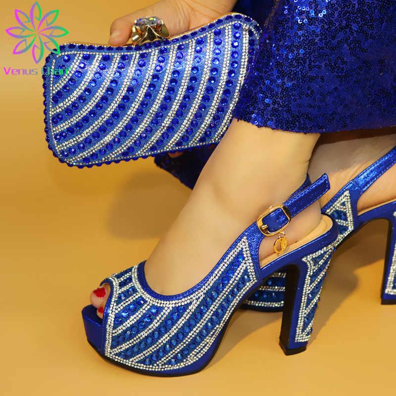 イタリアのマッチング靴とバッグ材料 pu ナイジェリア女性の靴やバッグセットのためのパーティーの女性の靴とバッグは