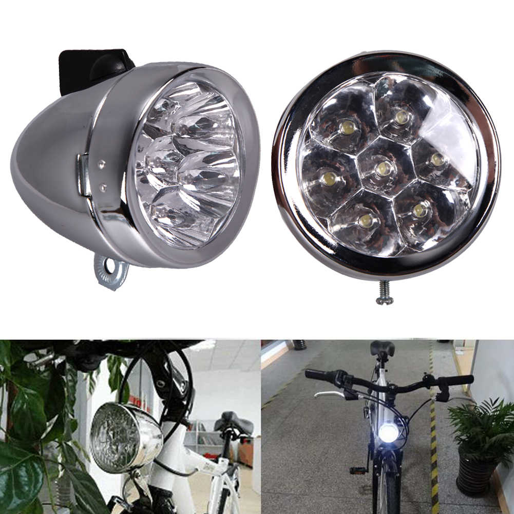 Retro Bicycle Bike Accessory Front Light Bracket Vintage 7LED Headlight GFY #Z
