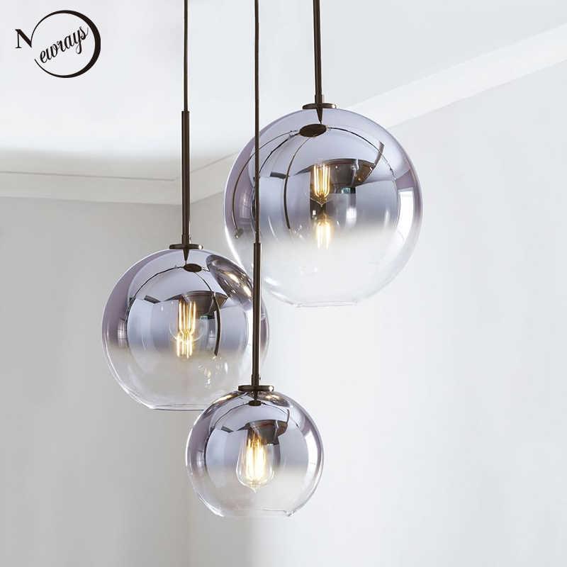 Современный скандинавский стеклянный подвесной светильник светодиодный E27 градиентный цвет Лофт креативный подвесной светильник для дома спальни гостиной ресторана магазина