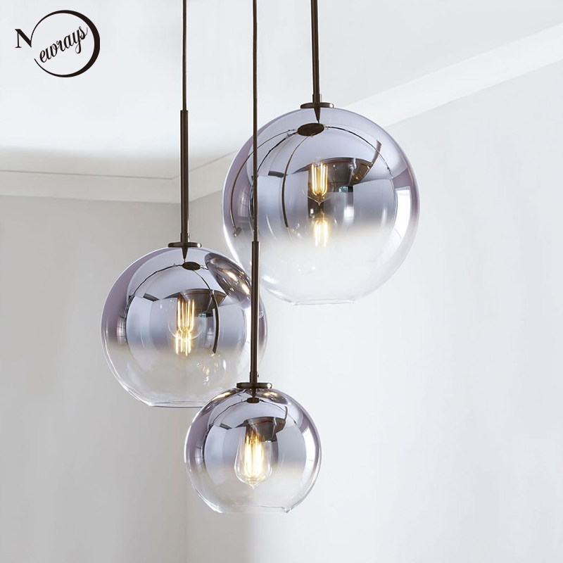 Modern Nordic Glass Pendant Light LED E27 Gradient Color Loft Creative Hanging Lamp For Home Bedroom Living Room Restaurant Shop