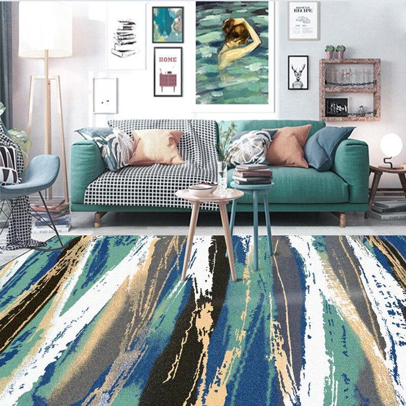Mode moderne art abstrait aquarelle feuille verte chambre chevet tapis salon tapis cuisine antidérapant tapis de sol en peluche