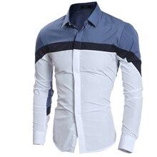 Men Shirt Luxury Brand 2017 Male Long Sleeve Shirts Casual Mens Three-Color Stitching Slim Fit Dress Shirts Mens Hawaiian 2XL GG