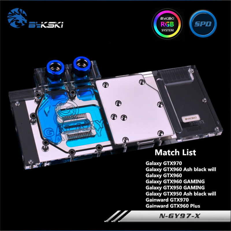 купить Bykski Full Coverage GPU Water Block For Galaxy GTX970 GTX960 GTX760 GTX660TI Graphics Card N-GY97-X онлайн
