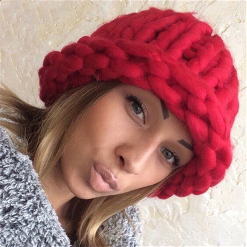 Winter Hat Women Fall 2016 Fashion Caps Girl Knitting Coarse Lines Twisted Hats Warm Ear Protection Candy Color Beanies Skullies