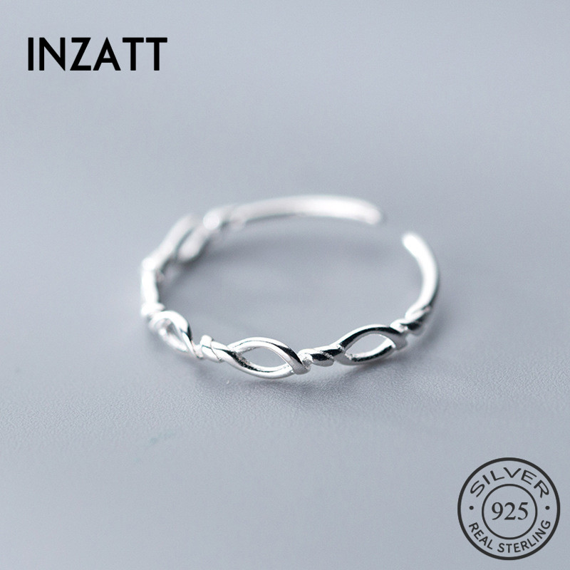 INZATT Real 925% Sterling Silver Irregular Geometry Opening Ring For Women Hope Rope Ring Interesting Fine Jewelry Birthday Gift