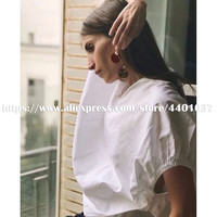2018 Summer Women Blouses Harajuku White and Beige Shoulder Slope Drop V neck Shirt Loose Concise Style Loose Tops