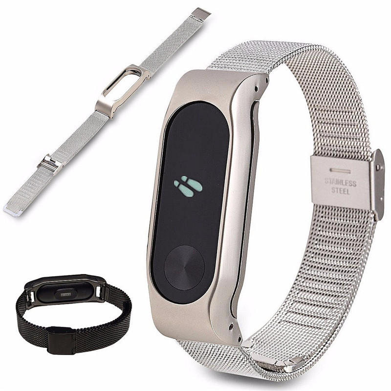 New Replacement Stainless Steel Frame Wristband Wrist Strap For Xiaomi MIBand 2 Smart Bracelet Adjustble