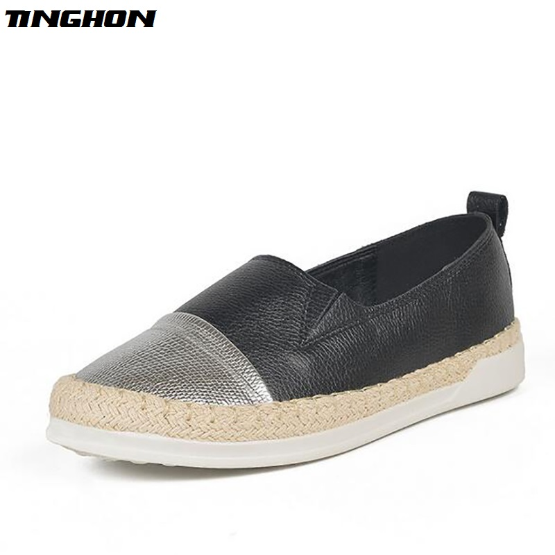 TINGHON Fashion summer new espadrilles Casual women knitted glitter fisherman shoes slip on shoe