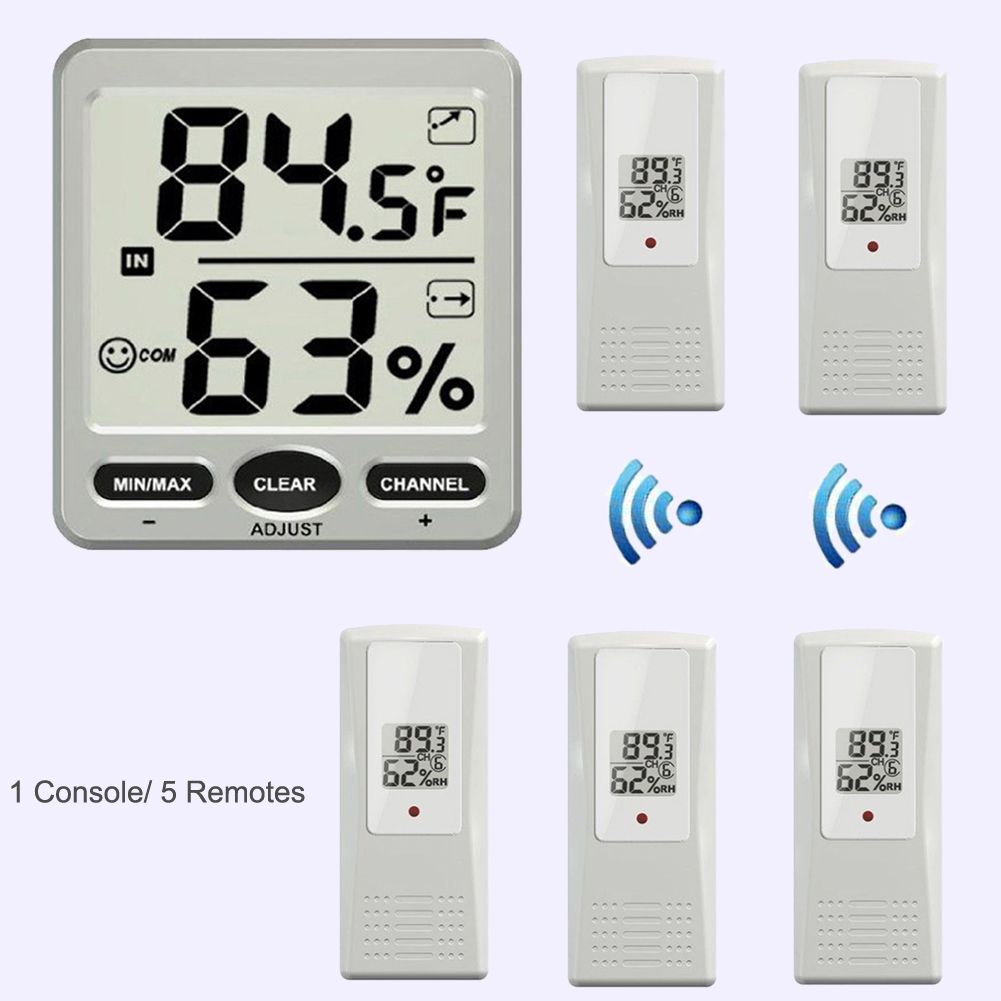 Indoor/Outdoor LCD Digital 433MHz Wireless 8-Channel Thermo-hygrometer + 5 Remote Sensors Thermometer Hygrometer hc520 2 5 lcd indoor