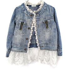2018 Casual Girls Jean Jackets Kids Lace Patchwork Coat Long Sleeve Button Denim For 2-7Y New