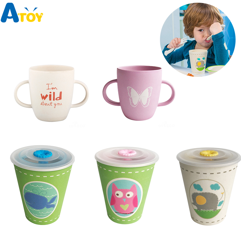 Bamboo Fiber Children Water Cup Environmental Health Baby Feeding Cup Cartoon Milk Juice Cups Gift For Kids Baby Water Bottle