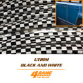 35Metres 114ft U Shape Trim Black White Checkered Strip Car Interior Styling Door Outer Moulding Trim Guard Edge Roll