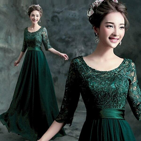 c62ae05103632 Elegant Scoop Neck Dark Green Chiffon Evening Dresses Lace Top Half Sleeves  Floor Length Prom Party Gowns vestido de festa