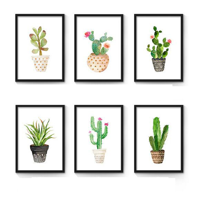 Watercolor Succulent Canvas Art Print Painting Poster, Cactus Set Wall  Pictures For Home Decoration,