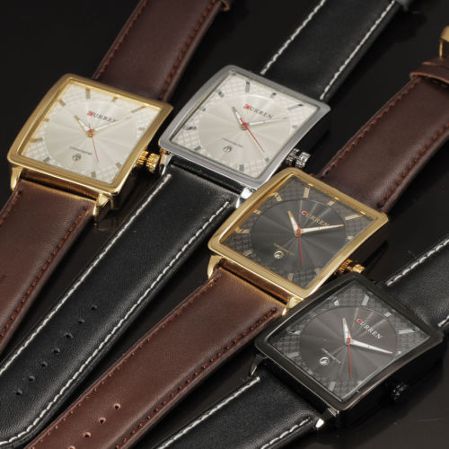 4511efd7c Curren 8117 Luxury Gold Square Watch Men Fashion Casual Brown Leather Band  Quartz Hours Watch Dress Wristwatch Best Gift