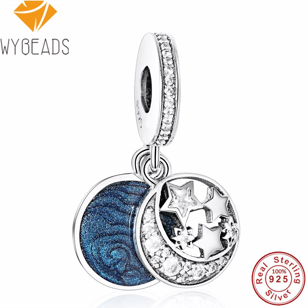 WYBEADS 925 Sterling Silver Jewelry Vintage Night Sky Charms Enamel Clear CZ Pendant European Bead Fit Bracelet DIY Accessories