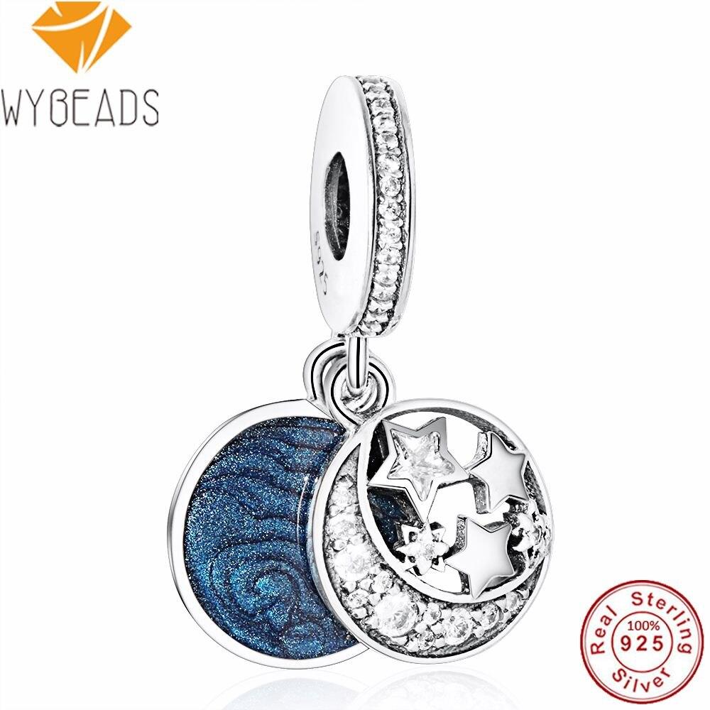 WYBEADS 925 Sterling Silver Jewelry Vintage Night Sky Charms Enamel Clear CZ Pendant European Bead Fit Bracelet DIY Accessories