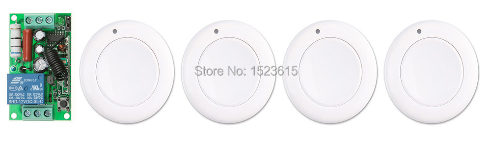 New AC 220 V 1CH Wireless Remote Control Switch System Receiver & 4*White wall Panel Sticky Remote new restaurant equipment wireless buzzer calling system 25pcs table bell with 4 waiter pager receiver