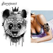 1 Piece Black Decal Waterproof Tattoo Panda King Pattern Sticker Design KM-052 Cool Women Man Inspired Body Art Temporary Tattoo
