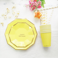 Gold Foil Yellow Birthday Tableware Set Kid 1st Birthday Decoration Paper Tableware 16 Plates 8 Cup