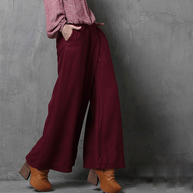 2017 New Pockets  Boho Vintage Pockets High Waist Loose Casual All-Match Bohemian Zipper Wine Red Wide Leg Pants Women Trousers