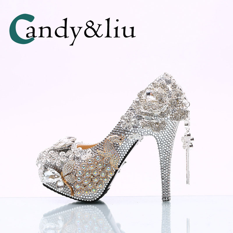 women large size crystal wedding shoes luxury sivler rhinestone super high heel hademade pumps for banquet evening dress partywomen large size crystal wedding shoes luxury sivler rhinestone super high heel hademade pumps for banquet evening dress party