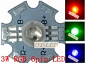 Freeshipping!10pcs 3W RGB Color High Power 6pin LED Chip Light with 20MM star base for RGB LED Lamp