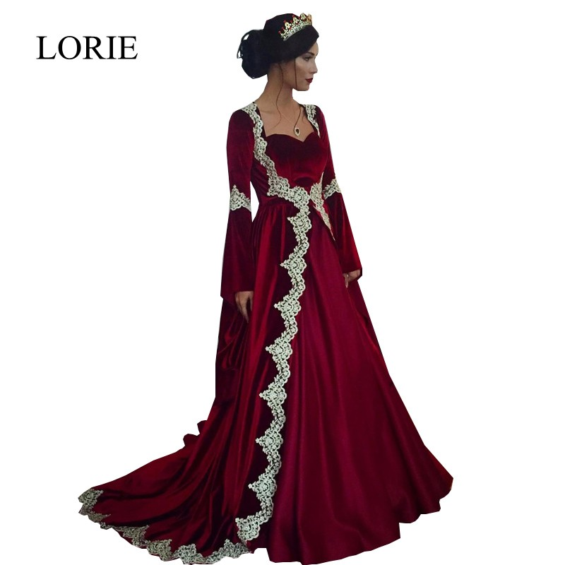 LORIE Moroccan Kaftan Long Sleeve Evening Dress 2018 Vintage Lace Burgundy  Velvet Prom Dresses Robe