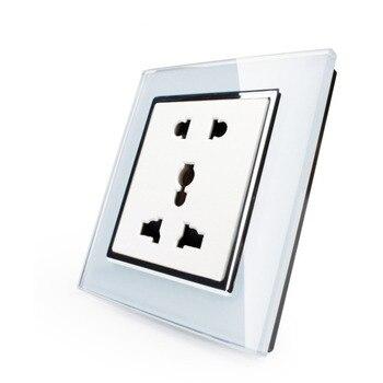 EK Standard Multi Function Crystal Glass Panel,Universal Power Socket with Five Hole Socket for Home Appliance Socket 2